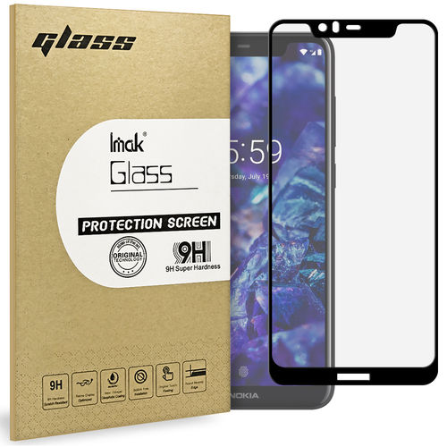 Full Coverage Tempered Glass Screen Protector - Nokia 5.1 Plus - Black